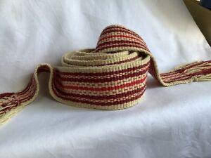 Woven Belt, Slavic Belt,  HandWoven Red Sash, Viking Wool Sash, Beige-red Trim