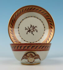 Antique French Samson Chinese Export Cup & Saucer American Eagle Gold Porcelain