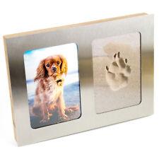 Pfotenabdruck 3D Set Formschaum Hund, Katze Bilderrahmen aus Holz und Edelstahl