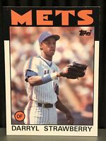 1986 Topps Darryl Strawberry baseball card New York Mets #80 MLB Wax Stain NY