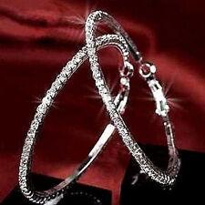 Women Morden Jewelry 925 Silver Large Round Rhinestone Hoop Earrings