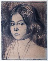 Franz Stuck und Richard Pietzsch: Mädchenkopf Kohlezeichnung 1895 Sezessionszeit
