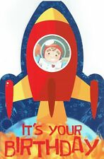 ROCKET SHIP Quality Birthday Stand Up Card open Boys Bright and colourful