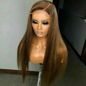 Luxury Lace Front Ash Brown Blonde Remy Straight Full Lace Human Hair Wig