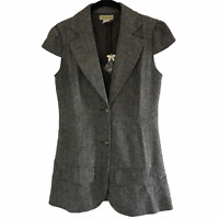 NWT Moon Collection Women's Gray Notched Lapel Cap Sleeve Blazer Size Small