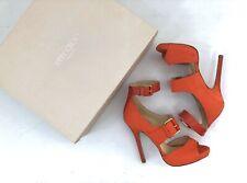 JIMMY CHOO Leona Orange Nubuck High Heel Stiletto Sandal - 36 -NEW NWB Authentic