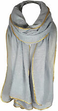 Light Silver Women's Glitter Sparkle Star Dust with GOLD PIPING Scarf Wrap