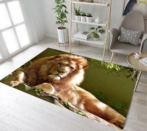 Wild Animals Lying Lion Staring Area Rugs Bedroom Carpet Living Room Floor Mat
