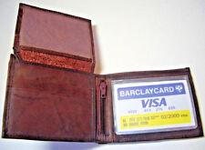 100% Men's Slim Wallet Genuine Leather- Bi-fold Brown