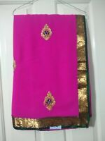 Indian Asian PINK gold broader SAREE/Sari