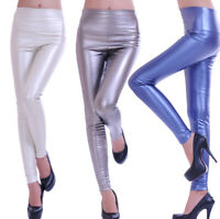 GLANZ Glitzer Leggings High Waist Hoher Bund Leggins XS S M L 34 36 38 40 42