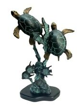 SPI Brass Two Sea Turtles with Fish Statue