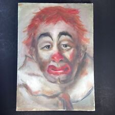"""Sad Clown Serious Face Oil Painting on Canvas 11x14"""" Unsigned Outsider Art"""