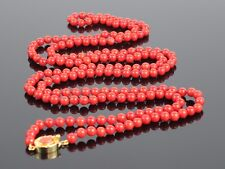 "Natural Sardinian Red Coral 5mm Bead Necklace 42"" w/ Coral Cabochon Clasp, 36.1g"