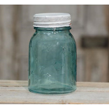 Antique Look Pint Size Blue Mason Jar with Lid
