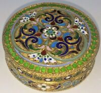 Superb Russian silver box cloisonne enamel St Petersburg c1910
