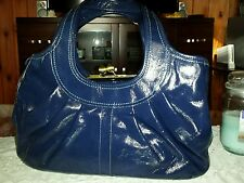 COACH ERGO LG PATENT LEATHER PLEATED FRAMED KISSLOCK SATCHEL, Navy blue #12520