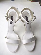NWD Nina White Satin Ankle Strap Wedding Sandals Shoes Sz 10M