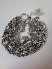 Ann Taylor LOFT Silver Link Blue Stone Crystal Layer Toggle Bracelet NWT $29.50