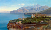 Art Oil painting seascape landscape town by the ocean no framed canvas