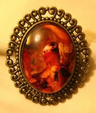 Lovely Swirled Rim Brasstone Festive Dancing Lady Glass Cameo Brooch Pin