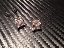 platinum stud earrings with 8mm square stone stunning  new for 2016