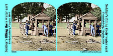 Soldier well wagon horse Civil War SV Stereoview Stereocard 3D 01838