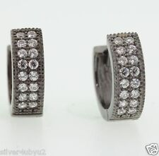 Genuine Black Silver 2 Row Huggie Hoop Earring With WH CZ Pave Setting