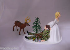 Wedding Reception Party Drunk Groom Bow Arrow Deer Hunter Hunting Cake Topper
