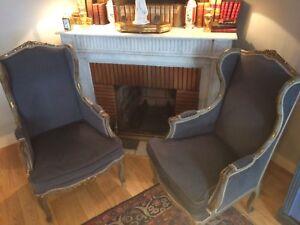 paire de fauteuils Louis XVI à oreille / fauteuil /
