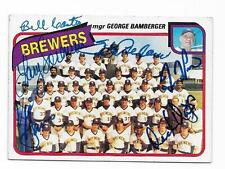 1980 TOPPS BREWERS TEAM CARD # 659 AUTOGRAPHED SIGNED BY 6 LEZCANO CASTRO +5