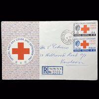 Hong Kong 1963 Registered Red Cross International Centenary 2 Stamps On FDC