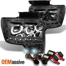 Fit *GAZE* 09-14 F150 *GEN VI* Halo Projector SMD LED Smoke Headlights +  6K HID