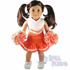 Cheerleader Outfit Orange White Top Skirt Poms fit 18 American Girl Doll Clothes