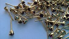 V731—100 pieces (50pair) 3mm Amethyst Rhinestone Gold Filled Stud Earrings—NICE!