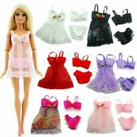 18 Pcs Clothes & Accessories For Barbie Doll Pajamas Lace Lingerie Night Dress