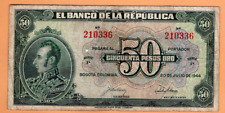 COLOMBIA 50 FIFTY PESOS 1944