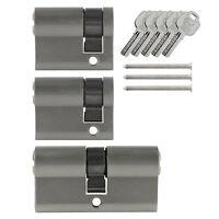 3x Tür Zylinder Schloss 40 / 60 mm gleichschliessend +5 Schlüssel Schliessanlage