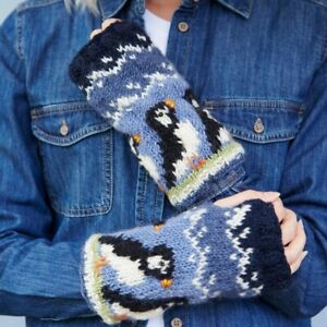 Pachamama Circus of Puffins Wool Handwarmers Fleece Lined Made in Nepal
