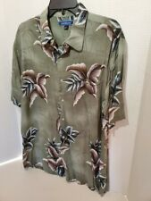 Croft Barrow Mens Large Shirt Hawaiian Style Button Down Short Sleeve Flower