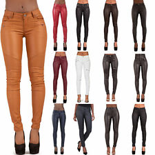 Womens Leather look Trousers Skinny Stretch Ladies Wet Look Leggings Size 6-14