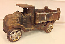 Antique Cast Iron Dump Truck Dump Lever Works Wheels Intact