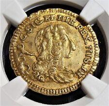 Italy: Sicily. Carlo III gold Oncia 1735, KM-C14a, AU58 NGC.