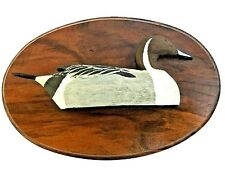 Roger Moreau Pintail Drake Duck Signed Wooden Oval Relief Plaque