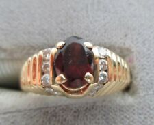 Vintage 14K Yellow Gold Garnet & Diamond Ring 4.9 grams Size 6.25