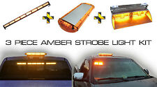 Amber Strobe Magnetic Beacon Light Bar and Rear Window Windshield LED Kit