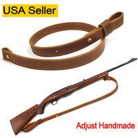 Adjust-Handmade Rifle Sling, Padded Genuine Leather Hunting Gun Strap USA Seller