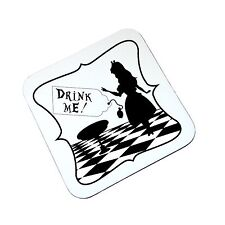 Alice In Wonderland Drink Me Novedad De Madera Coaster Alto Brillo