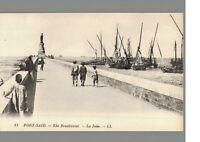 Port-Said : The Breakwater : Egypt : Vintage Postcard