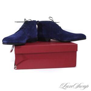 LNIB 1X WORN Salvatore Ferragamo Dufur Blue Purple Suede Chukka Boots 10.5 EE NR